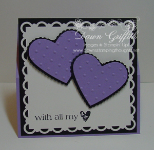 Easel card front lavender lace