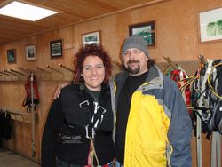 Dad and Jessie  getting ready  for the zip line