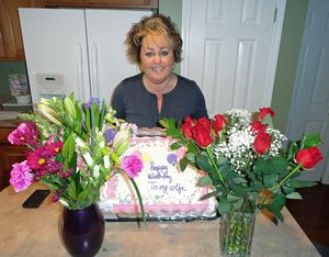 Birthday cake and flowers from hubby