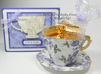 Paper tea cup and saucer with card from Becky Green