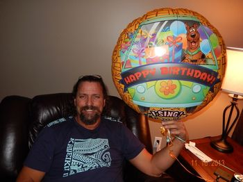 Hubby with his BIG Birthday Balloon
