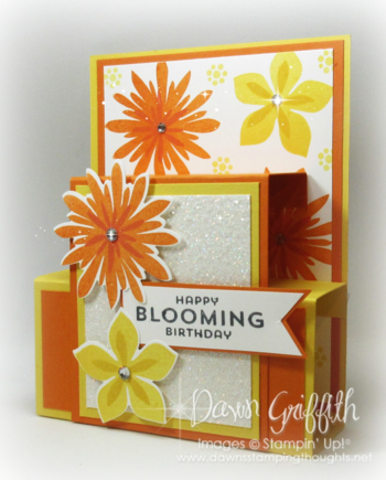 Blooming Birthday Hawaiian Blog Hop  step panel card Dawn Griffith A