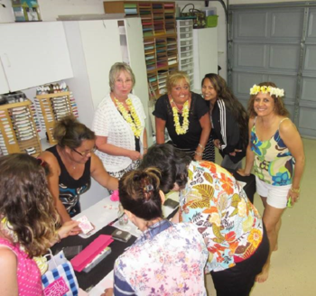Hawaii  stamping with Cindy at her home #2