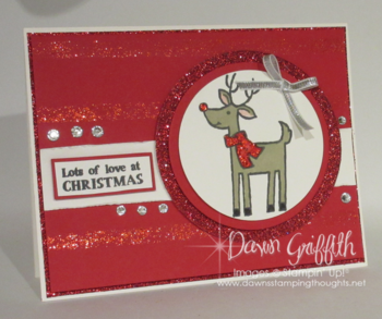 Christmas Card  using Cherry Cobbler DD and mask