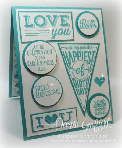 #1 Happy Happy Birthday card inside  for my hubby Stampin'Up! Dawn Griffith
