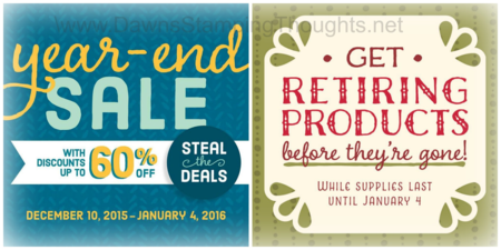 Year end sale and Holiday retirement list until january 4th, 2016 Dawn Griffith