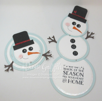Telescoping Snowman cards circle framelits  Stampin'Up! Dawn Griffith