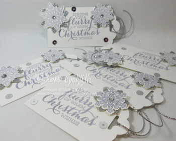 Christmas tags  Flurry of Wishes stamp set and punch