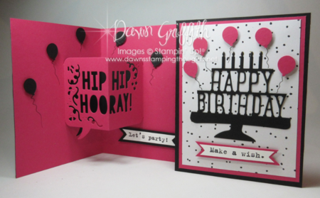 Birthday Party pop up thinlits  front and inside Dawn Griffith Stampin'Up!