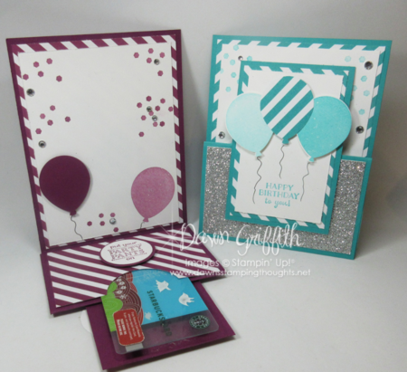 Happy Birthday to you gift card holders opened by Dawn Griffith Stampin'Up! Demonstrator