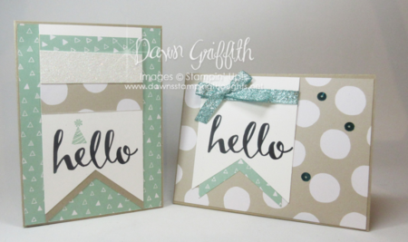 Hello Peek a boo hidden message cards Dawn Griffith Stampin'Up! Demonstrator Sale-a-Bration  2016