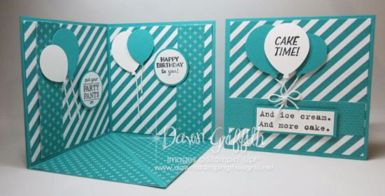Corner Pop up card Birthday Balloons Bermuda Bay Dawn Griffith Stampin Up! demonstrator Occasions catalog SAB 2016