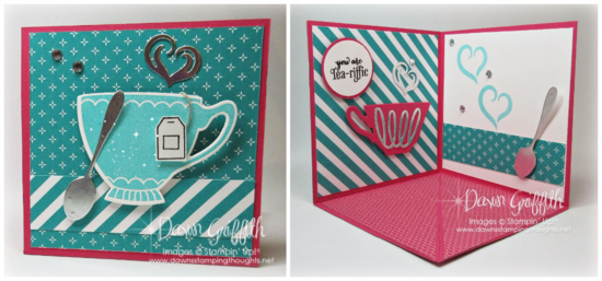 Corner Pop Up card Melon Mambo A Nice Cuppa  Occasions catalog Dawn Griffith Stampin Up Demonstrator