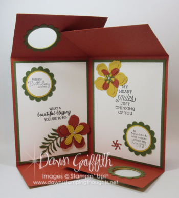 Double Gate Fold Double Peek a Boo card opened   Dawn Griffith Stampin'Up! demonstrator