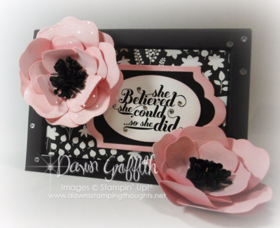 #1 Frame Card Pink Pirouette flowers using the Bouquet Bigz die from Stampin'Up! video posted on my blog today on how I made this flower Dawn Griffith