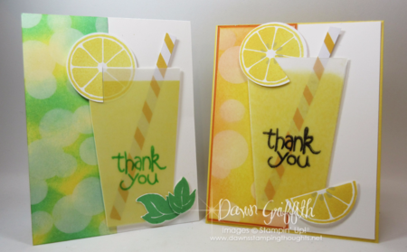 Lemonade cup cards Vellum card stock posted a video on how I made lindas versions she sent me Dawn Griffith Stampin'Up!