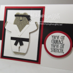 Karate Bear card using Bears Hugs stamp set and Framelits video
