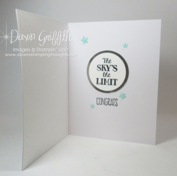 Graduation card inside  for Tyler  using May 2016  Paper Pumpkin kit Dawn Grioffith