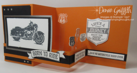 One Wild ride stamp set Basic Black and Pumpkin Pie Pop up Z fold card by Dawn Griffith video posted on my blog today .