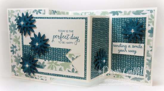 #1 Blossom Bunch Punch Today is a perfect day to be HAPPY Island Indigo by Dawn Griffith Stampin' Up Demonstrator video on this card is posted on my blog today