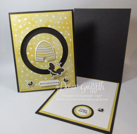 Spinner Bee cards inside with Shooting Star stamp set with Sliding Star framelits Dawn Griffith
