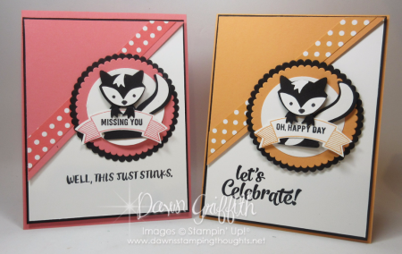 Skunk Birthday and Miss you cards Peeakaboo Peach and Flirty Flamingo with Fox Builder punch Video Dawn Griffith Stampin Up Demonstrator