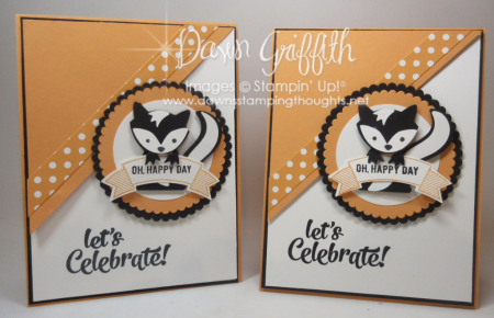 Skunk Birthday cards Peeakaboo Peach with Fox Builder punch Video Dawn Griffith