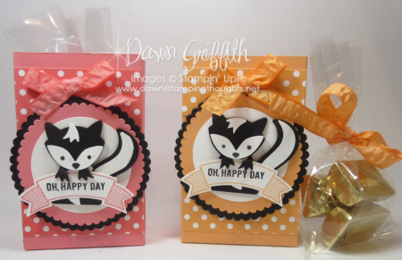 Fox Builder punch Skunk Peekaboo Peach treat bag Dawn Griffith Video
