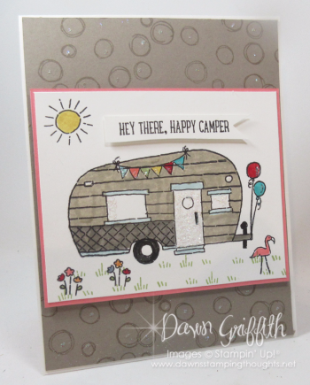 Tommys Mom birthday card Happy Camper front Dawn Griffith Stampin Up