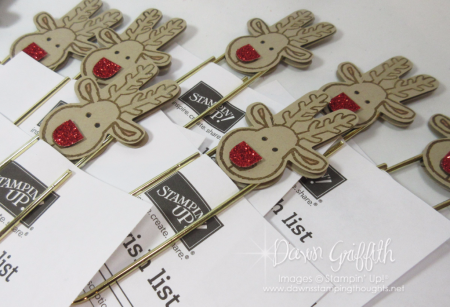 Rudolph Paper Clip Topper wish lists  for club ladies Dawn Griffith