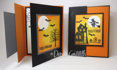 Halloween Double Fun fold card inside Dawn Griffith Stampin up demonstrator