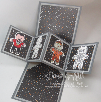 Cookie Cutter Halloween Pop Up card inside Dawn Griffith