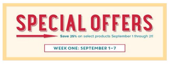 Special Offers week 1 Sept 1st until Sept 7th 2016