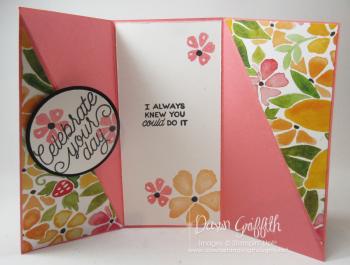 Diagonal Gate fold GQ card inside Dawn Griffith