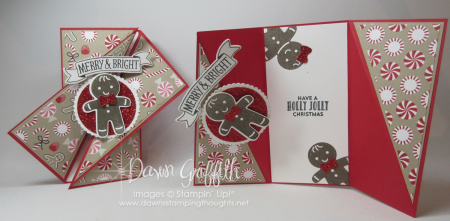 Diagonal Gate fold Christmasd cards Dawn Griffith