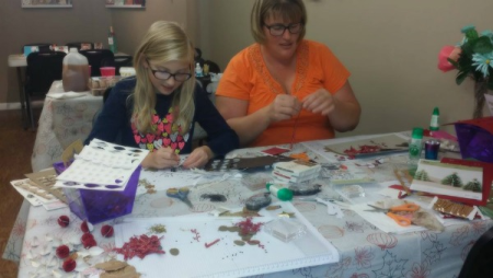 #1 Anna and Peggy making tree Ornaments