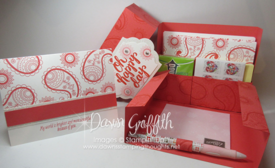 Oh Happy Day Stationary Box opened with birthday card Dawn Griffith