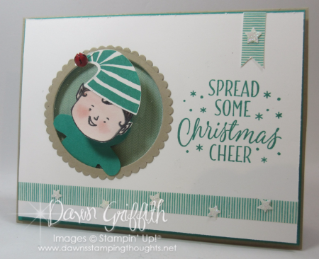 Christmas Cheer Action Wobble Elf card Dawn Griffith