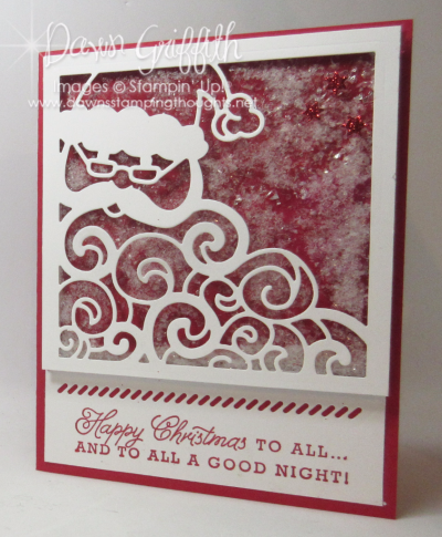 Detailed Santa Shaker card Real Red front Dawn Griffith