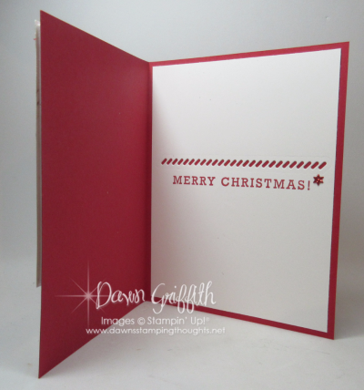 Detailed Santa Shaker card Real Red inside Dawn Griffith