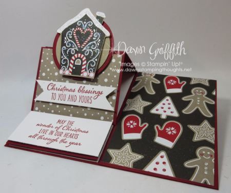 Christmas Easel card Candy Cane Lane DSP Dawn Griffith