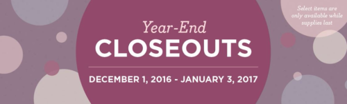 Year End Closeouts until January 3 2017 while supplies last click HERE to shop now