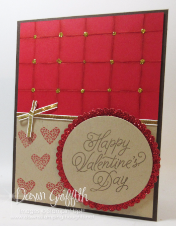 Valentines Day Fauz Quilted Background Square card Dawn Griffith