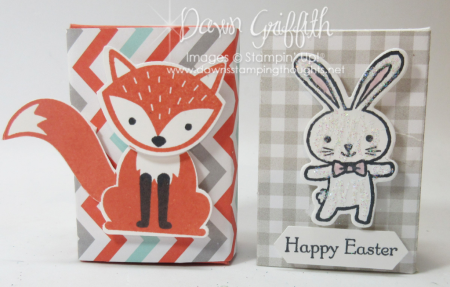 Mini Ghirardelli Happy Easter boxes with fox and bunny Dawn Griffith