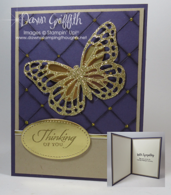 Thinking of You Butterfly Sympathy Faux Quilt card by Dawn Griffith