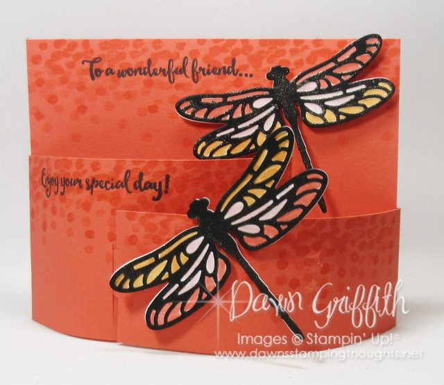 Bendi Fold card using the Dragonfly Dreams stamp set with the matching Framelits from Stampin'Up! . Both are in the 2017 Occasions catalog . I have all the details PLus a video posted on my blog click on over and check it all out # Dawngriffith, #Stampinup, #Dragonfly