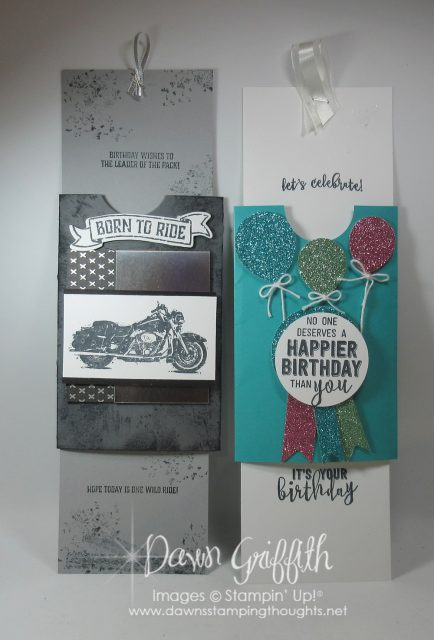 Double Slider card with plastic grocery bag . Video is posted today on my blog DawnsStampingThoughtsnet #Dawnsstampingvideos #onewildridestampset #balloonadventures #stampinup #Dawngriffith