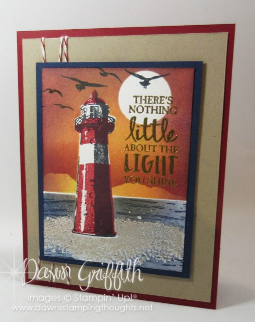 High Tide stamp set , Lighthouse sunset card, Dawn Griffith Stampin'Up! Demonstrator #lighthouse #sunset, #hightide, #stampinup
