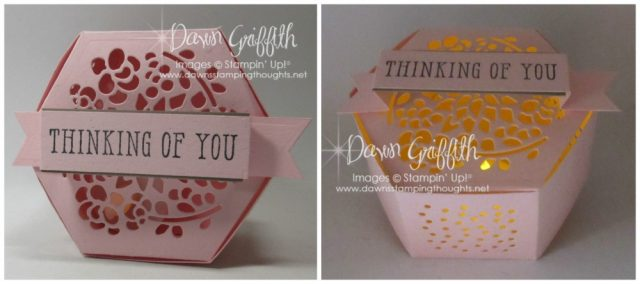 I used the awesome Window Box Thinlits for these beautiful boxes and today's video I will show you how easy they are to make I even used Liquid Glue for mine in today's video . Check out my blog for all the details Dawn Griffith #boxes #glimmerpaper #hexagonboxes #stampinup Tealightbox