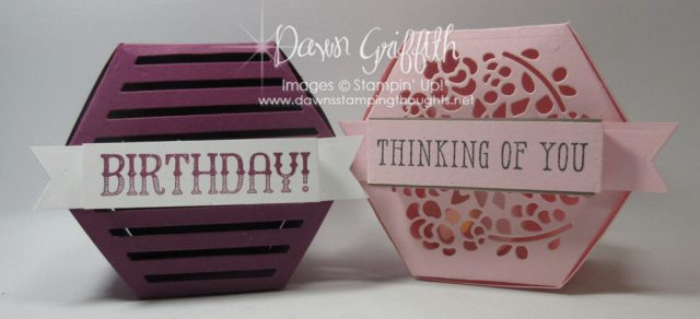 I used the awesome Window Box Thinlits for these beautiful boxes and today's video I will show you how easy they are to make I even used Liquid Glue for mine in today's video . Check out my blog for all the details Dawn Griffith #boxes #glimmerpaper #hexagonboxes #stampinup